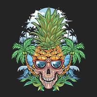 teschio tropicale con testa di ananas vettore