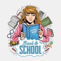 torna a scuola design con ragazza che tiene il libro vettore