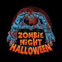 mani di zombie di Halloween che formano il cuore vettore