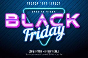 effetto di testo modificabile con luce al neon del venerdì nero vettore