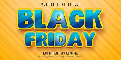 effetto di testo modificabile in stile cartone animato venerdì nero vettore