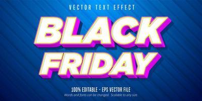 effetto di testo modificabile in stile cartone animato venerdì nero
