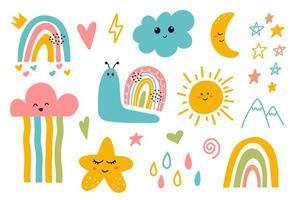 kawaii carino sorridente luna, nuvola, stella, arcobaleno, elementi del sole vettore