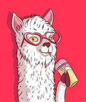 lama bianca con occhiali da sole a forma di cuore che beve limonata vettore