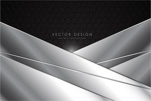 sfondo in metallo grigio e argento con strati poligonali vettore