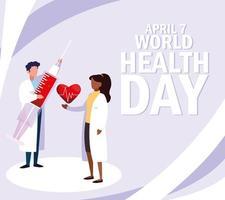 poster della giornata mondiale della salute con i medici vettore