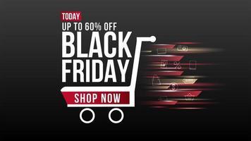 banner di vendita del carrello della sfocatura del venerdì nero