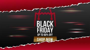 banner di vendita di carta strappata venerdì nero