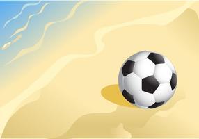 Pallone da calcio su un vettore di Sandy Beach