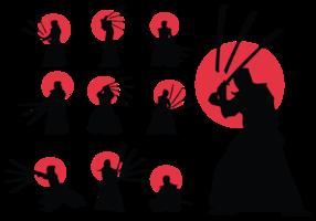 vettore di silhouette di kendo