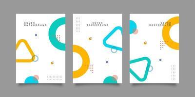 copertina di una rivista con disegno geometrico colorato vettore