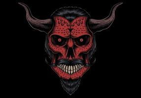 testa del diavolo del cranio vettore