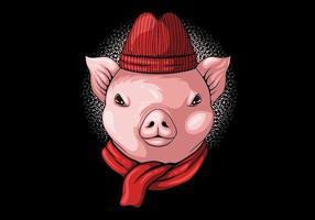 berretto e sciarpa con testa di maiale vettore