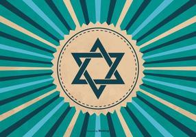 Simbolo di Hanukkah sullo sfondo Sunburst vettore
