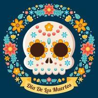 illustrazione floreale colorato dia de los muertos vettore