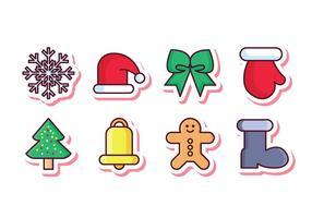 Set di icone di adesivo di Natale gratis