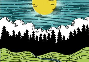 Linea Art Night Landscape vettore