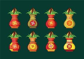 Metta l'illustrazione di vettore di Kalash con la foglia del mango e del cocco