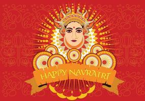 Maa Durga face design su sfondo retrò per Hindu Festival Shubh Navratri