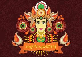 Maa Durga Face Design su sfondo retrò per Festival indù Shubh Navratri