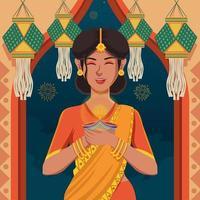 donne in sari che celebrano il meraviglioso festival di diwali vettore