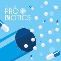 icona di capsule di medicina probiotici vettore