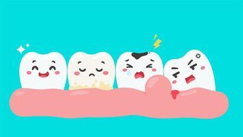 cartone animato denti e gengive all'interno della bocca vettore