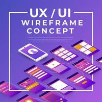 ux ui concetto wireframe vettore
