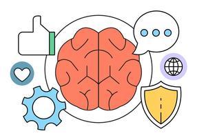 Intelligenza e cervello vettoriale icone