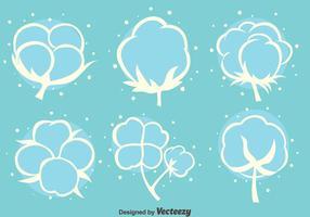 Vettore bianco delle icone dei fiori del cotone