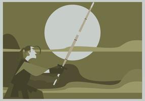 Un uomo pratica il vettore Kendo