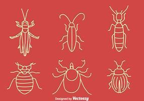 Insieme di vettore di piccolo insetto disegnato a mano