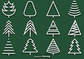 Insieme vettoriale di icone di linea di pino