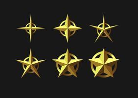 Insieme delle icone di vettore di stelle 3D