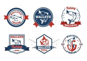 Etichetta vintage pesci Walleye vettore