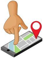 mano alla ricerca di una posizione su uno smartphone vettore