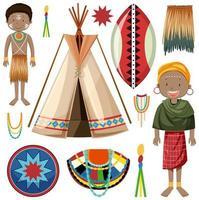 set di tribù native africane vettore