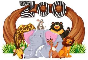segno di ingresso dello zoo con animali dei cartoni animati