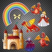 personaggio magico e fantasy e set di elementi vettore