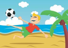 ragazzo calciare la palla sulla spiaggia