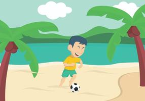 Ragazzo che gioca a calcio sulla spiaggia