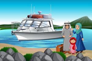 famiglia mediorientale in vacanza vettore