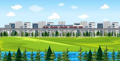 parco naturale con una scena di treno e paesaggio urbano vettore