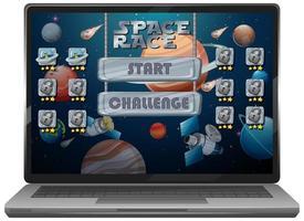 gioco di missione di corsa allo spazio sullo schermo di un laptop