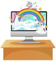 unicorni e arcobaleno sullo schermo di un computer vettore