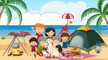 famiglia in campeggio in spiaggia