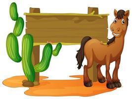cartello in legno e cavallo selvaggio nel deserto vettore