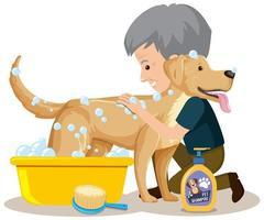uomo che dà al suo cane un bagno vettore