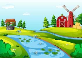 fattoria con un fienile e una scena di mulino a vento