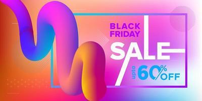 vendita venerdì nero banner nastro 3d design